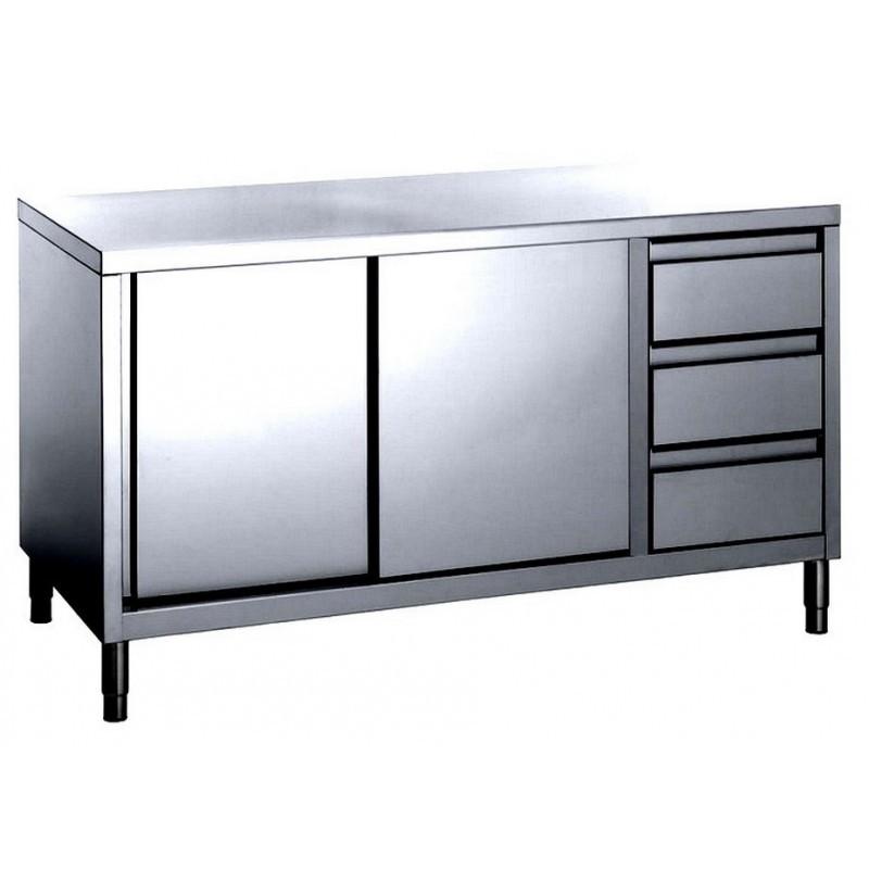 tavolo inox armadiato con cassettiera